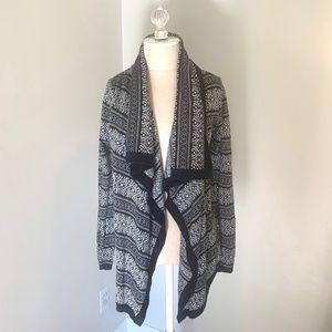 Black and White Draped Front Cardigan